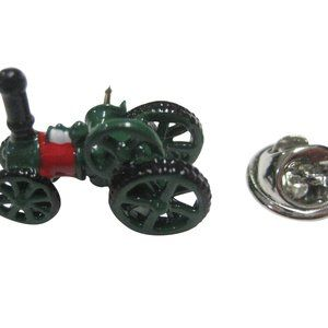 Green Toned Steam Powered Tractor Engine Lapel Pin